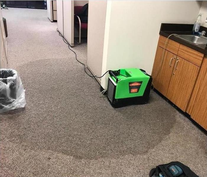 Dehumidifier on puddled carpet