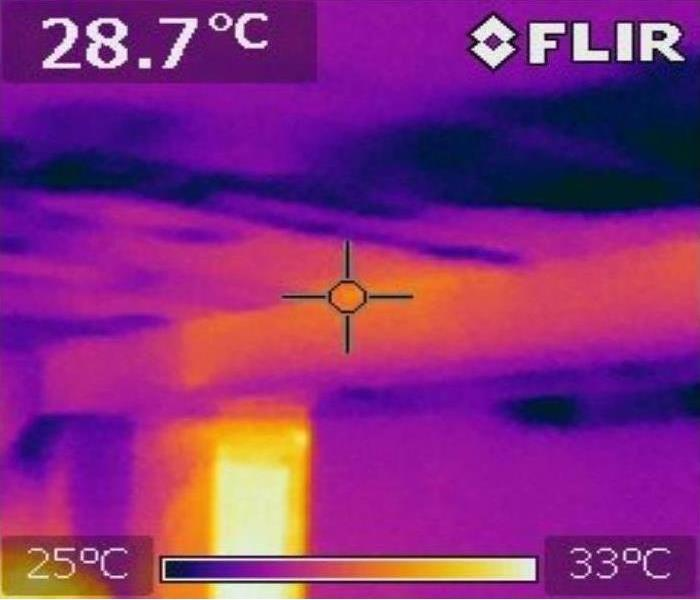 Multicolor thermal image of a wet ceiling
