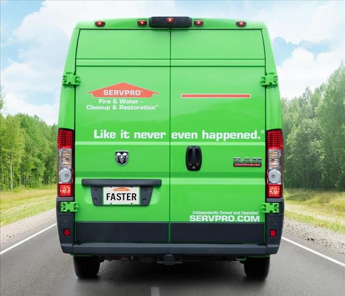 Back of a Green SERVPRO truck